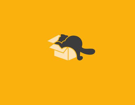 Creative Logo icon funny cat and box