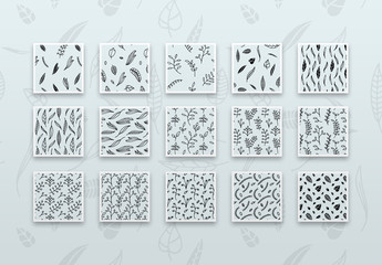 Hand Drawn Graphic Floral Pattern Set Layout