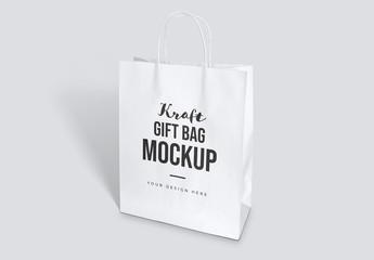 Kraft Gift Bag Mockup
