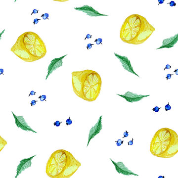 Watercolor seamless pattern with lemon, blueberry and mint.