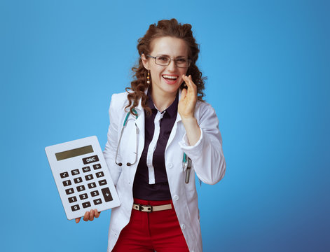 medical practitioner woman with calculator telling news