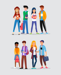 Groups of young people, teenagers in the hobby club, friends from school. College or university students different nationalities.