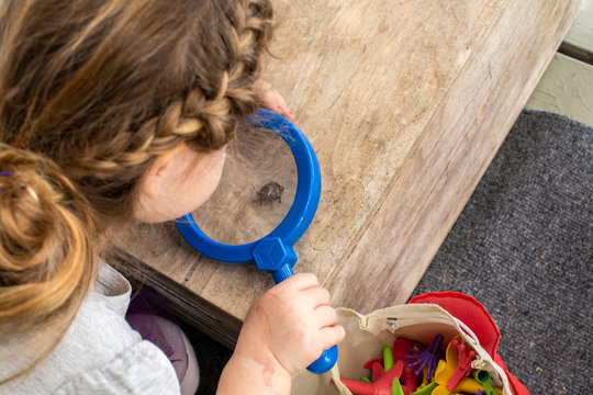 A toddler aged girl looking at a bug through a magnifying glass.