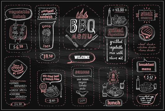 Chalkboard barbecue menu, beef steaks, sausages, lunch, breakfast and sauces, etc.