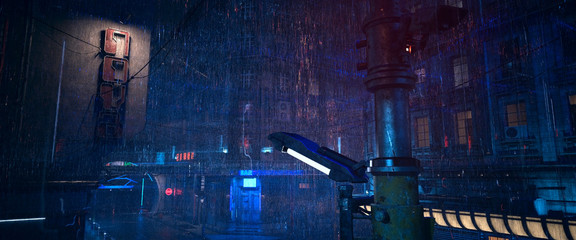 Fotomurales - Futuristic city landscape. Rainy night scene. Photorealistic 3d illustration of the gloomy cityscape in the style of cyberpunk. Empty street with neon lights.