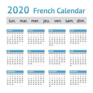 2020 French European Calendar. Week starts on Monday