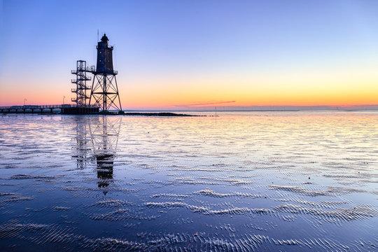Lighthouse Obereversand at sunset