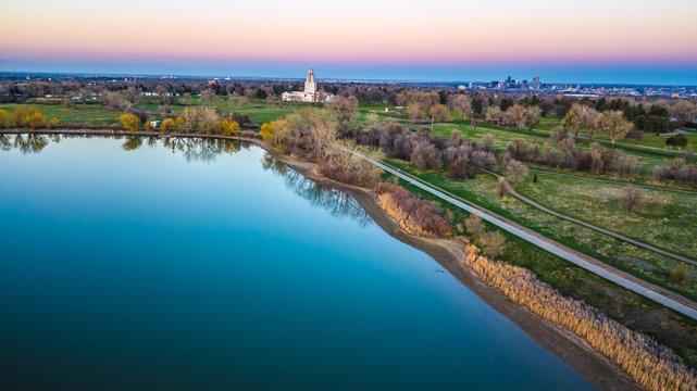 Drone Spring Sunset Over Denver, Colorado