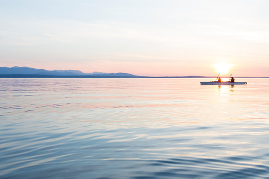 People women sea kayaking paddling boat in calm water together at sunset. Active outdoor adventure water sports. Journey, destination, teamwork concepts.