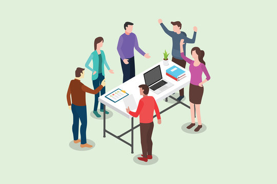 isometric stand up or standing meeting concept for modern agile methodology workflow daily routines - vector