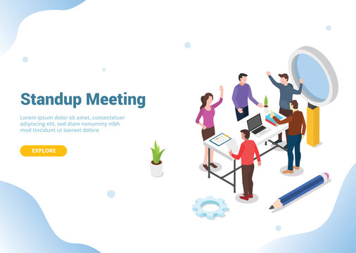 isometric stand up or standing meeting concept for modern agile methodology workflow daily routines for website template landing homepage banner - vector