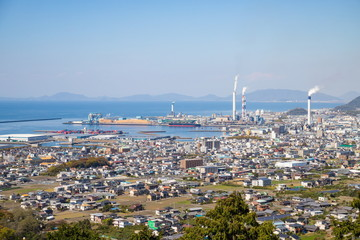 Cityscape of shikokuchuo city and the seto inland sea( port ) ,Shikoku,Japan