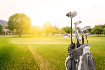 Deurstickers Golf Golf bag at Golf Course Sunset as background