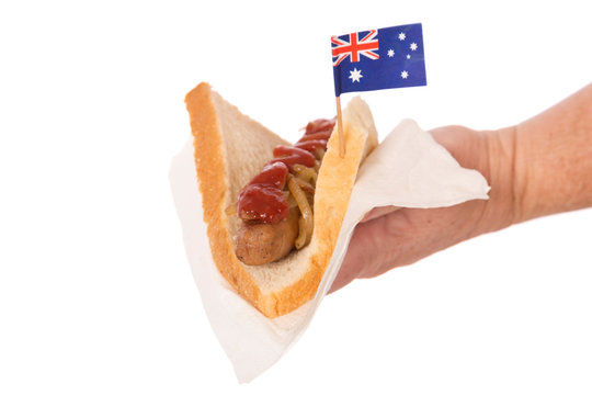 A traditional Aussie sausage sizzle serve often at barbecues and fund raisers.