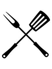 essen grillgabel pfannenwender werkzeug besteck grillzange grillen gabel grill lecker koch bbq chef schürze hunger braten clipart design