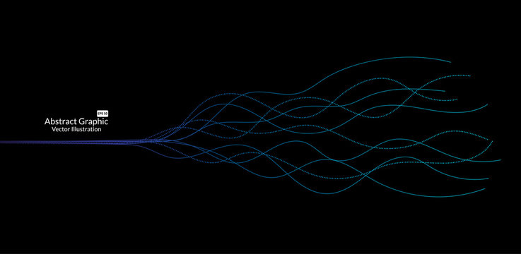 Abstract colorful wave lines on black background for elements in concept business presentation, Brochure, Flyer, Science, Technology. Vector illustration