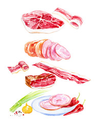 Watercolor illustration of cooked meat  set.Green onions,garlic,ham,sausage,ham,chili pepper,pork and spices. Isolated on white background