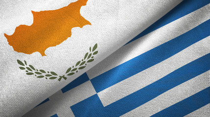 Cyprus and Greece two flags textile cloth, fabric texture