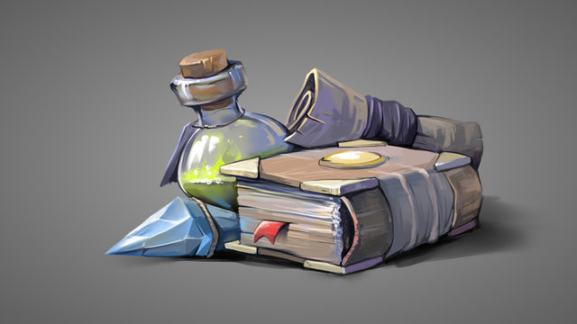 Magic items on a gray background. Digital painting illustration.