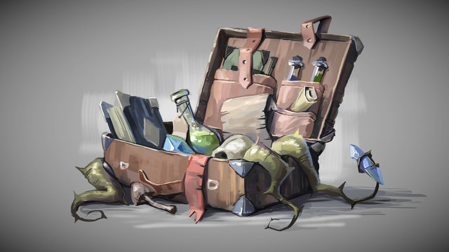 Old suitcase with magic items. Digital painting illustration.