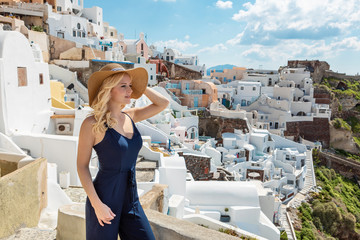 blond woman in Oia on Santorini
