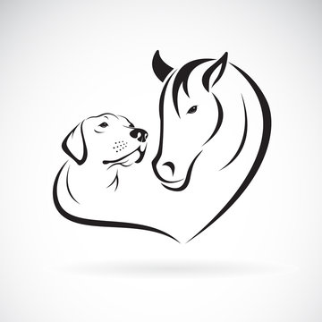 Vector of horse and dog(Labrador) on white background. Pet. Animal. Easy editable layered vector illustration.