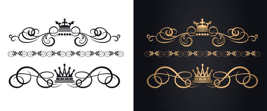 Golden elements in royal style for design