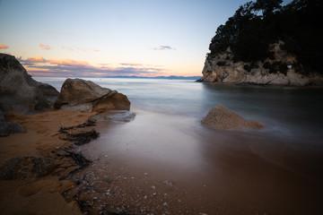Kaiteriteri beach landscape long exposure at sunset