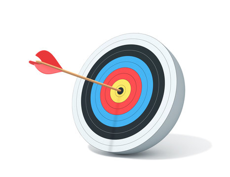Archery target with arrow isolated on white. Clipping path included