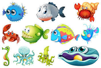 Set of sea creature