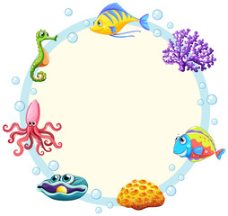 Cute sea creature border