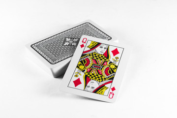 Playing Cards Queen card and back white background mockup