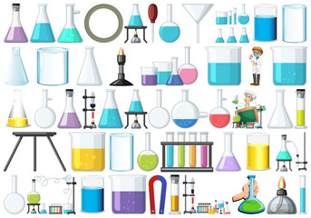 Poster Kids Set of lab equipment