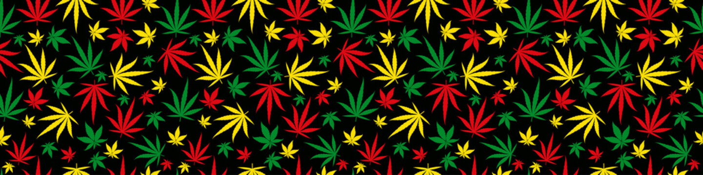 Rasta rectangular banner pattern seamless background. Reggae jamaican ornament. Marijuana leaf. Rastafarian cannabis hemp template fill. Vector clipart.