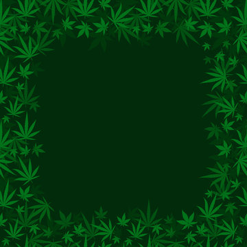 Marijuana dark green grass square frame banner. Cannabis hemp plant. Border frame isolated transparent background. Copy space for text place.