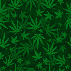 Marijuana green leaves on a deep dark green background. Rasta seamless repeat pattern. Cannabis hemp template fill. Vector flat square clipart.