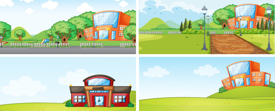 Set of school building backgrounf