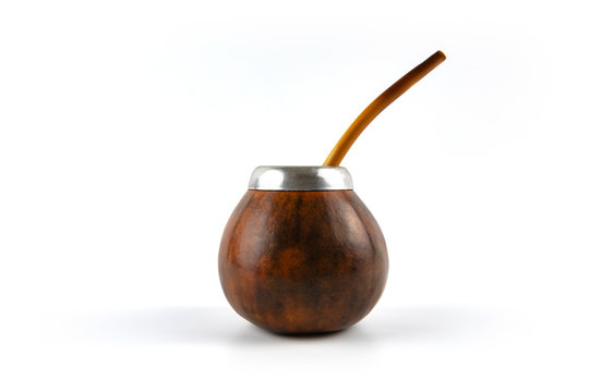 Calabash gourd on white background