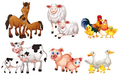 Poster Kids Set of farm animal