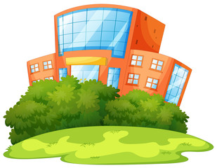 Isoalted school building with nature