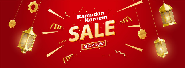 gold ramadan kareem background place for text sale banner