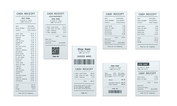 Set of receipt records, design template of bill ATM, paper financial check for mockup. . realistic payment paper bills for cash or credit card transaction.