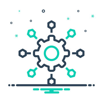 Mix line icon for microservices  software