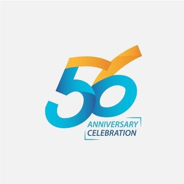 56 Year Anniversary Celebration Vector Template Design Illustration