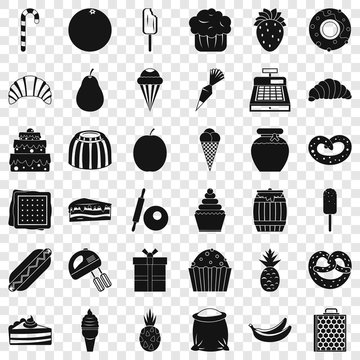 Confectionery icons set. Simple style of 36 confectionery vector icons for web for any design