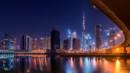 Tuinposter Dubai Dubai cityscape with the tallest building in the world Burj Khalifa