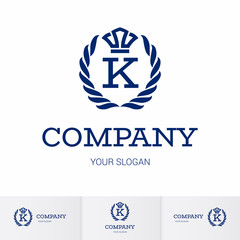 Illustration of Luxury Vintage Crest Logo with letter K in the Middle and Luxury Crown. Calligraphic Royal Emblems and Elements Logo Icon Template on White Background