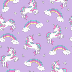 Pattern with unicorn. Trendy seamless vector pattern on a  lilac background. Fashion illustration drawing in modern style for clothes. Drawing for kids clothes, t-shirts, fabrics or packaging.
