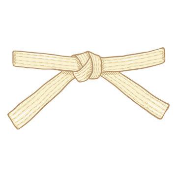Vector Cartoon White Karate Belt