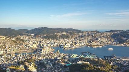 Wall Mural - Nagasaki city skyline in Nagasaki, Japan time lapse
